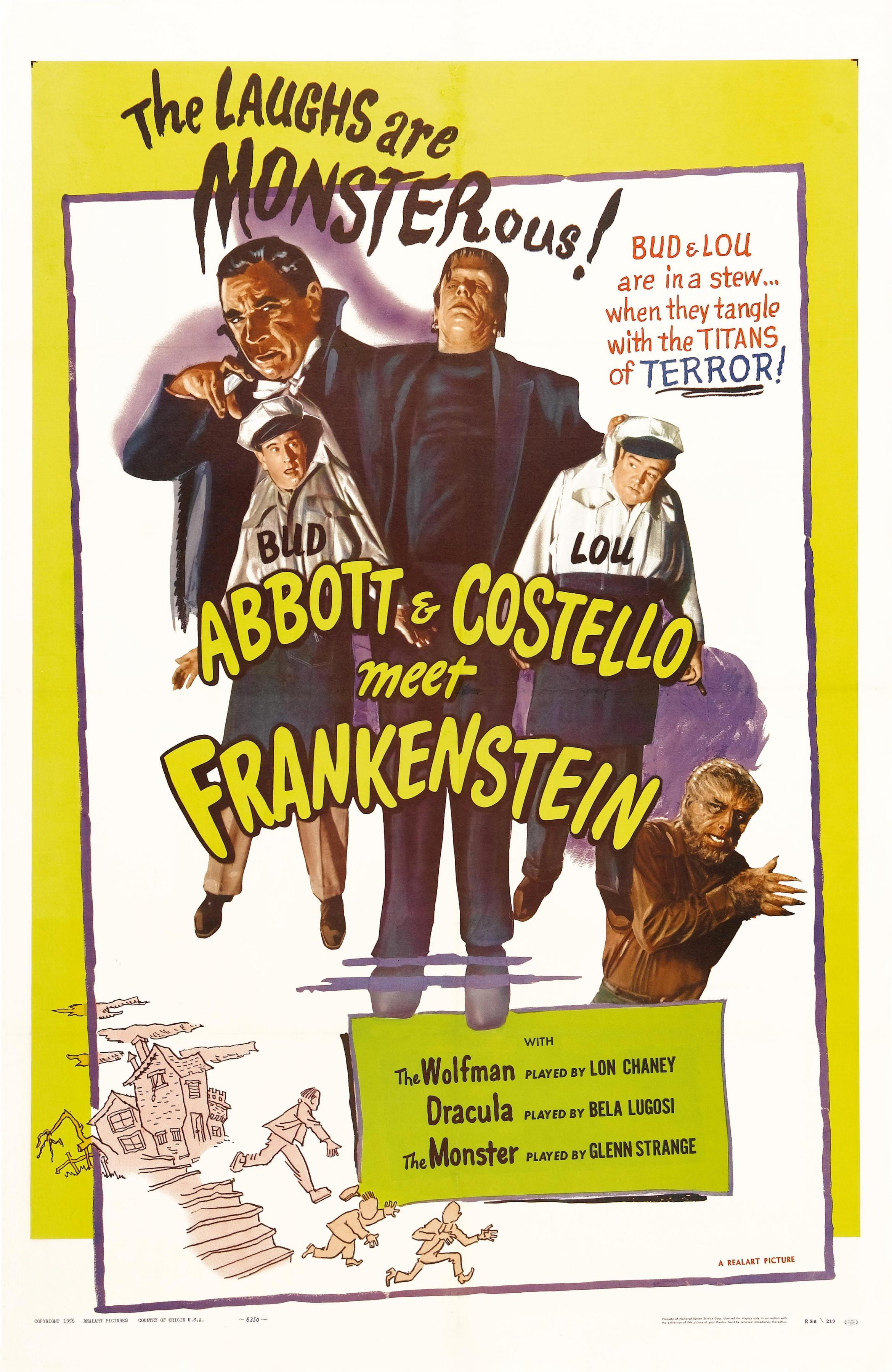 With Bud Abbott Lou Costello Lon Chaney Jr Bela Lugosi Two hapless freight handlers find themselves encountering Dracula the Frankenstein Monster and the Wolf Man